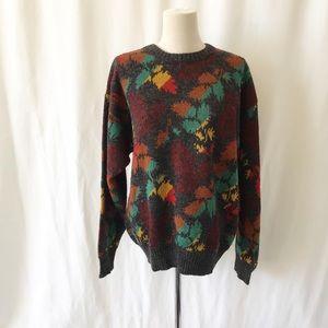 Vintage London Fog leaf knit pull over sweater M